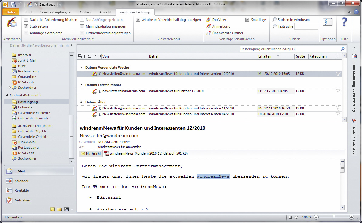 Integration von windream Exchange in Microsoft Outlook